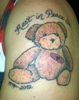 "The ""All Will Get Better Bear"" memorial tattoo for my sister."